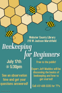 Beekeeping for Beginners @ Webster County Library